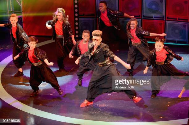 Rahja performs onstage with Lip Sync Battle Shorties Crew at the Nickelodeon Upfront 2018 at Palace Theatre on March 6 2018 in New York City