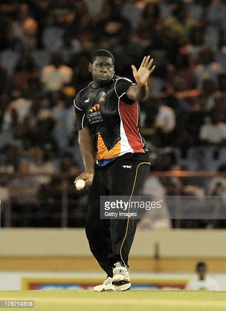 Rahkeem Cornwall of Antigua Hawksbills bowling against St Lucia Zouks during the Eighth Match of the Caribbean Premier League between Antigua...