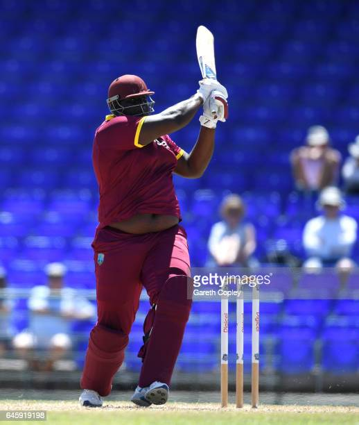 Rahkeem Cornwall of WICB President's XI bats during the tour match between WICB President's XI and England at Warner Park on February 26 2017 in...