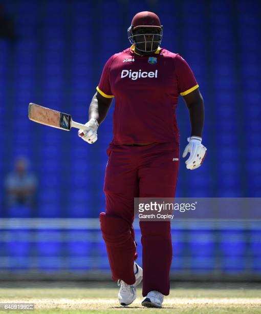 Rahkeem Cornwall of WICB President's XI during the tour match between WICB President's XI and England at Warner Park on February 26 2017 in...