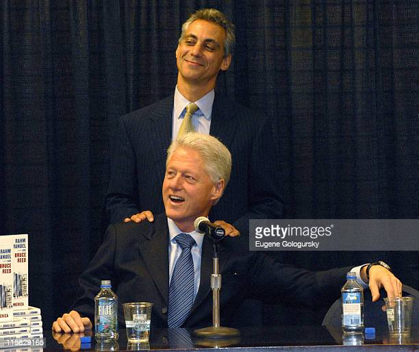Rahm Emanuel and Bill Clinton during Bill Clinton introduces Rep Rahm Emanuel Democratic Leadership Council Pres Bruce Reed authors of The Plan at...