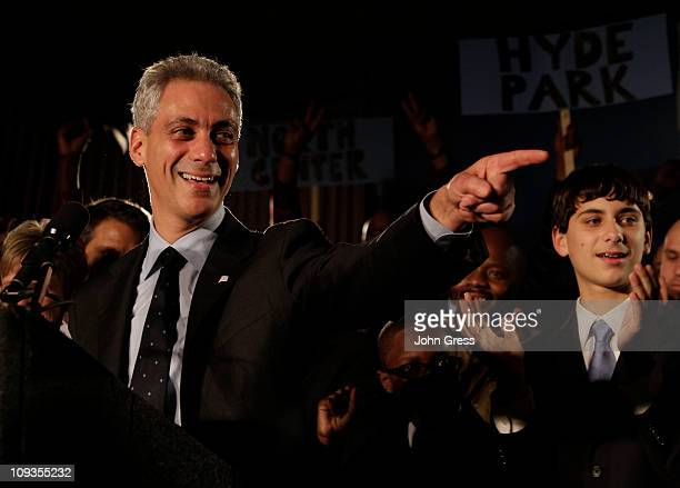 Rahm Emanuel celebrates winning the Chicago mayoral race February 22 2011 in Chicago Illinois Residents of Chicago went to the polls today to select...