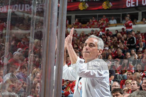 Rahm Emanuel mayor of Chicago cheers on the Chicago Blackhawks during Game Six of the 2015 NHL Stanley Cup Final against the Tampa Bay Lightning at...