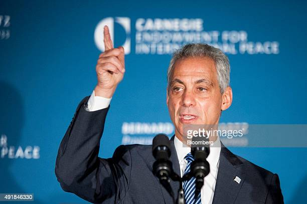 Rahm Emanuel mayor of Chicago speaks at the American Job Creation and Infrastructure Forum in Washington DC US on Thursday Oct 8 2015 The forum...