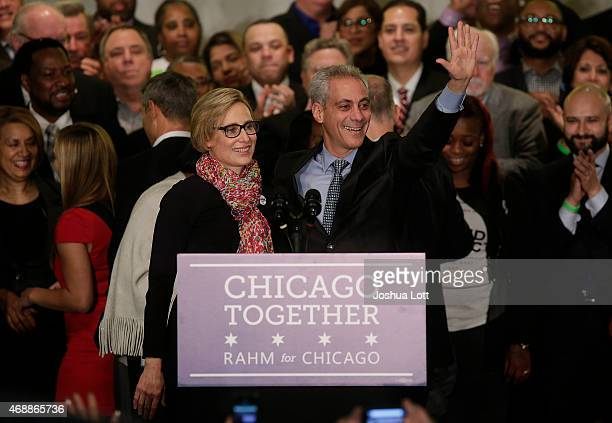 Rahm Emanuel stands with his wife Amy Rule before giving his victory speech after being reelected Mayor of Chicago at his election night rally April...