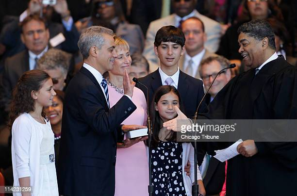 Rahm Emanuel with wife Amy Rule daughter Ilana Leah and son Zach is sworn in as Chicago's 46th mayor at the Jay Pritzker Pavilion by Chief Judge...