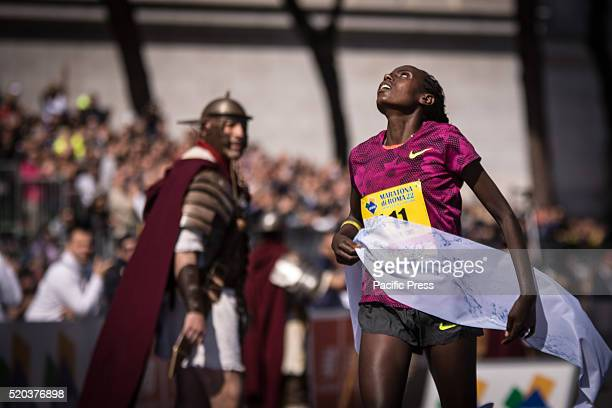 Rahma Tusa during Rome Marathon 2016 The winners of the marathon in Rome 2016 Kenyan Amos Kipruto was the first to cross the finish line with a time...