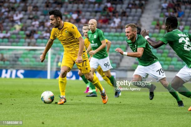Rahman Bugra Cagiran of Yeni Malatyaspor in action during UEFA Europa League second qualifying round soccer match between Yeni Malatyaspor and...