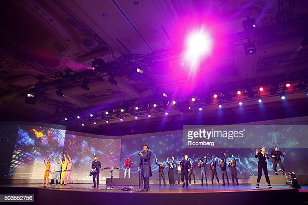 AR Rahman center performs using the Intel Corp RealSense Technology during an event at the 2016 Consumer Electronics Show in Las Vegas Nevada US on...