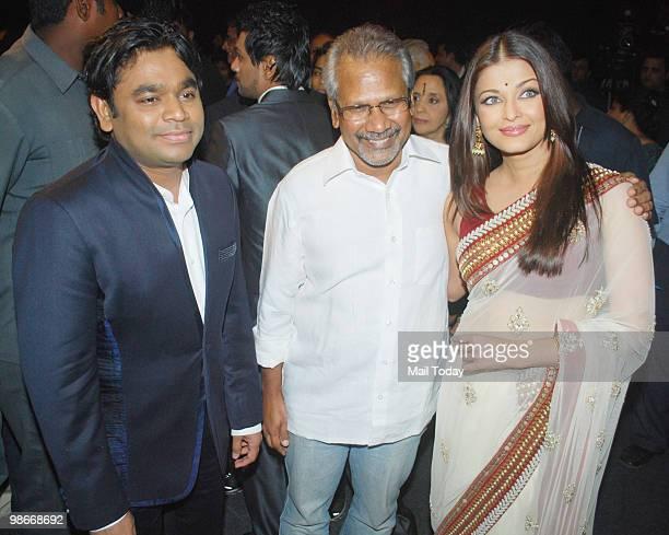 Rahman Mani Ratnam and Aishwarya Rai Bachchan at the music launch of the film Raavan in Mumbai on April 24 2010