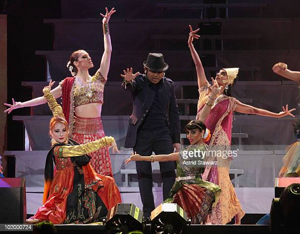 AR Rahman performs during the opening night of the AR Rahman Jai Ho Concert The Journey Home World Tour at Nassau Veterans Memorial Coliseum on June...