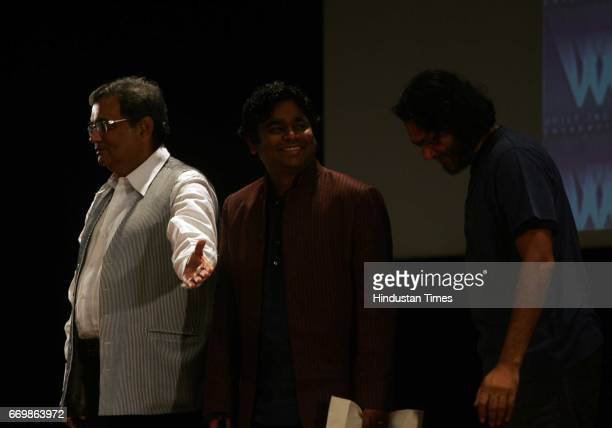 R Rahman Subhash Ghai and Rakesh Mehra at Whistling Woods International where Rahman inaugurated a new sound studio