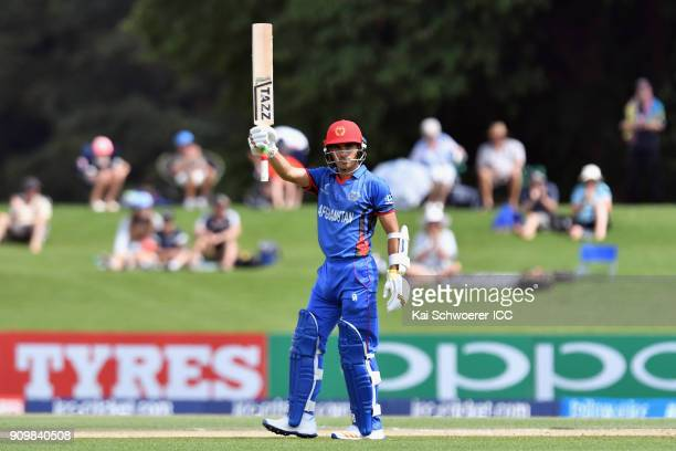 Rahmanullah Gurbaz of Afghanistan celebrates his half century during the ICC U19 Cricket World Cup match between New Zealand and Afghanistan at...