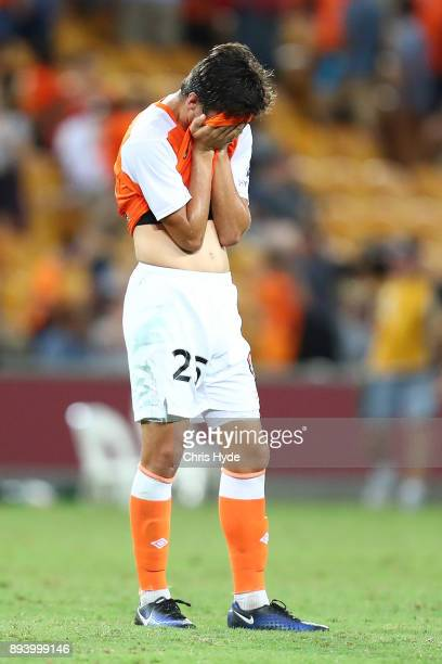 Rahmat Akbari of the Roar reacts after losing the round 11 ALeague match between the Brisbane Roar and the Melbourne Victory at Suncorp Stadium on...