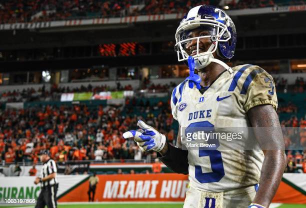 J Rahming of the Duke Blue Devils in action against the Miami Hurricanes at Hard Rock Stadium on November 3 2018 in Miami Florida