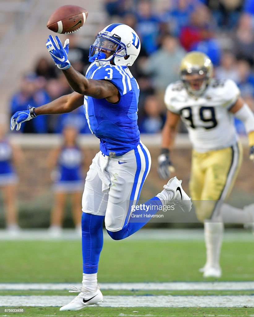 T.J. Rahming #3 of the Duke Blue Devils makes an acrobatic catch against the Georgia Tech Yellow Jackets during their game at Wallace Wade Stadium on November 18, 2017 in Durham, North Carolina.