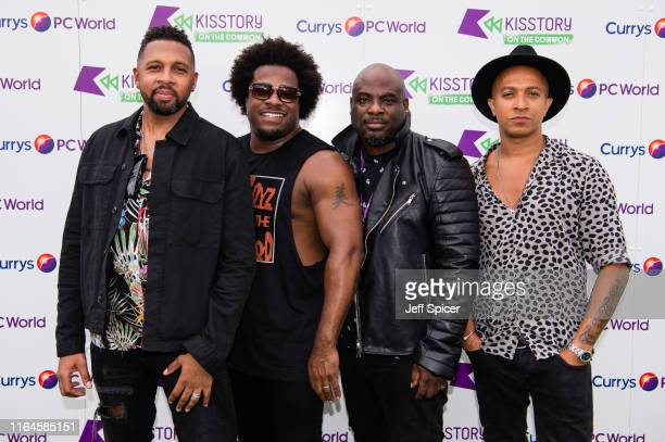 Rahsaan Bromfield, Andrez Harriott, Noel Simpson and Jade Jones from Damge attend KISSTORY On The Common 2019 at Streatham Common on July 27, 2019 in...