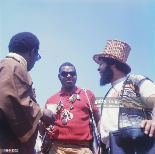 Rahsaan Roland Kirk backstage at Newport Jazz Festival, Rhode Island, United States, 4th July 1969.