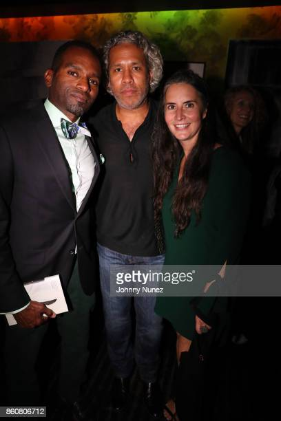 Rahsan Lindsay Khary LazarreWhite and Clara Markowicz attend the Khary Lazarre White 'Passage' Book Release Party at Beautique on October 12 2017 in...