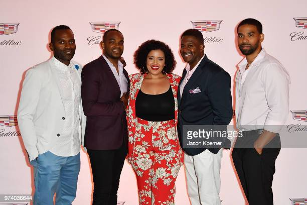 RahsanRahsan Lindsay Detavio Samuels Allison McGevna and guests attend the Cadillac Welcome Luncheon At ABFF Black Hollywood Now The Temple House on...