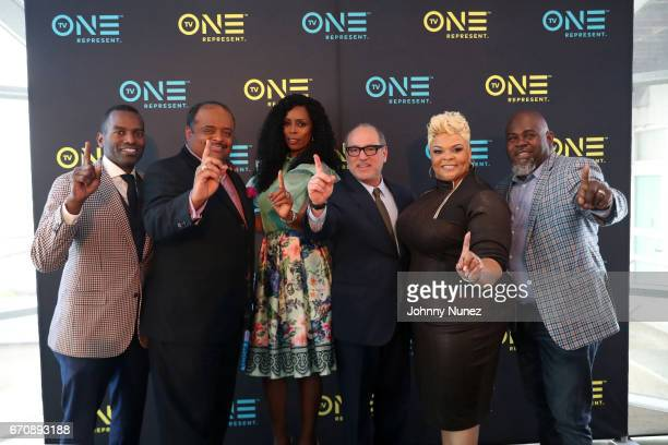 RahsanRahsan Lindsay Roland Martin Tasha Smith Brad Siegel Tamela Mann and David Mann attend TV One 2017/2018 UpFront presentation at Chelsea Piers...