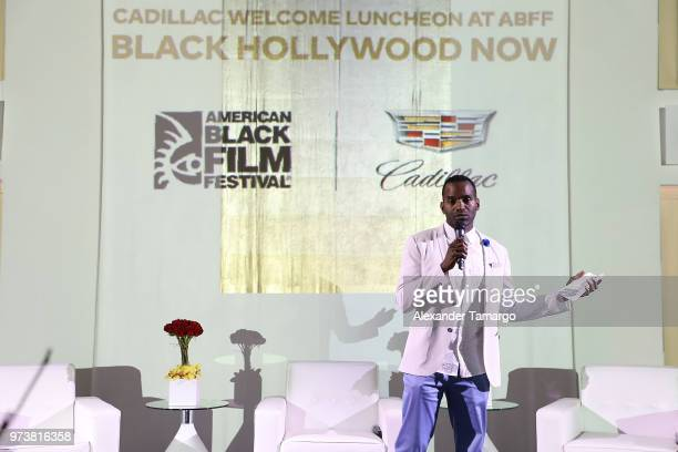 RahsanRahsan Lindsay speaks on stage at Cadillac Welcome Luncheon At ABFF Black Hollywood Now at The Temple House on June 13 2018 in Miami Beach...
