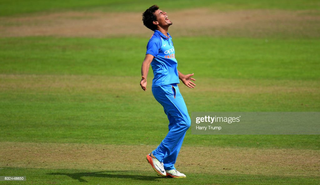 Rahul Chahar of India U19s celebrates after dismissing Harry Brook of England U19s during the 5th Youth ODI match between England U19s and India Under 19s at The Cooper Associates County Ground on August 16, 2017 in Taunton, England.