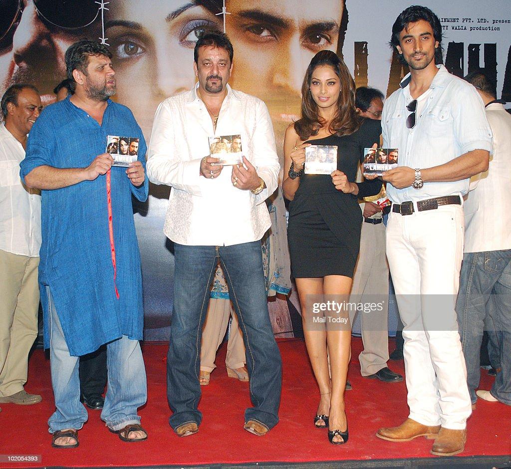 Rahul Dholakia Sanjay Dutt Bipasha Basu and Kunal Kapoor at the music launch of the film `Lamhaa` in Mumbai on June 11 2010