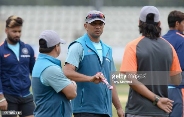Rahul Dravid coach of India A during Day Three of the Tour Match between England Lions and India A at New Road on July 18 2018 in Worcester England
