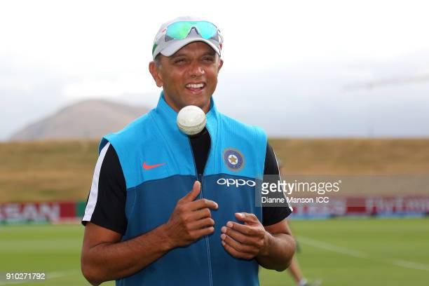 Rahul Dravid coach of India looks on ahead of the ICC U19 Cricket World Cup match between India and Bangladesh at John Davies Oval on January 26 2018...
