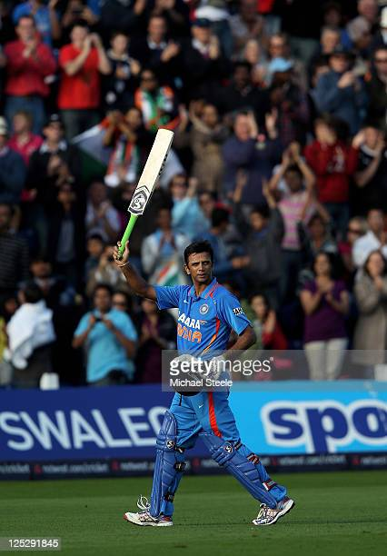 Rahul Dravid of India acknowledges the crowd as he heads for the pavillion aftre being dismissed in his last ever One Day International match during...