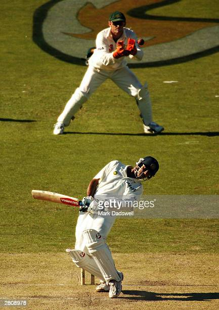 Rahul Dravid of India avoids a bouncer from Jason Gillespie of Australia during the third day of the 2nd Test Match between Australia and India at...
