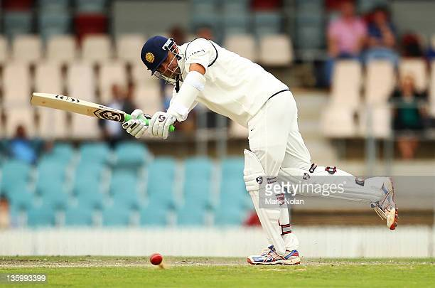 Rahul Dravid of India bats during day two of the International Tour match between India and the Cricket Australia Chairman's XI at Manuka Oval on...