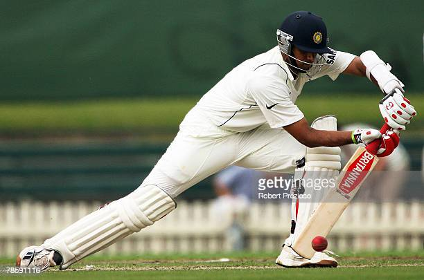 Rahul Dravid of India blocks during day one of the three day tour match between Victoria and India at Junction Oval on December 20 2007 in Melbourne...
