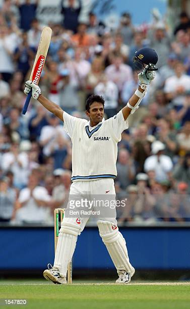 Rahul Dravid of India celebrates getting his double century during the fourth day of the NPower Fourth Test match between England and India on...