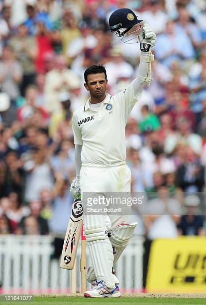 Rahul Dravid of India celebrates his century during day four of the 4th npower Test Match between England and India at The Kia Oval on August 21 2011...