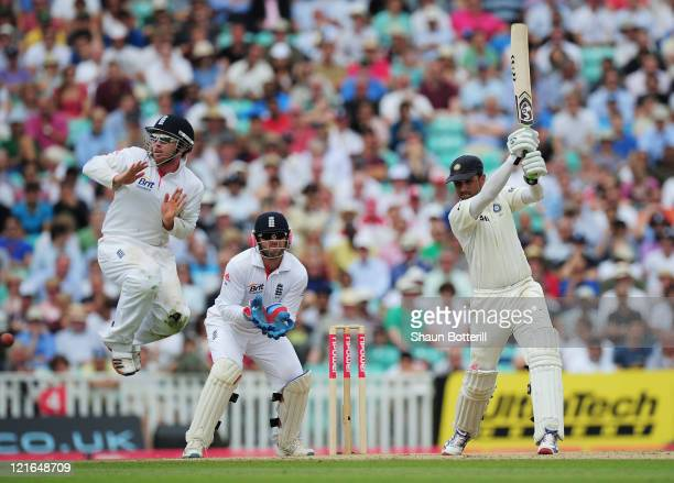 Rahul Dravid of India hits out as Ian Bell of England takes evasive action during day four of the 4th npower Test Match between England and India at...
