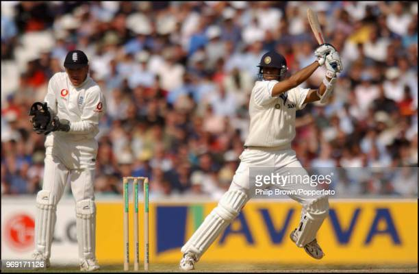 Rahul Dravid of India hits out during his innings of 217 runs in the 4th Test match between England and India at The Oval, London, 6th September...