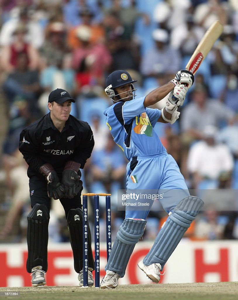 Rahul Dravid of India hits out during the ICC Cricket World Cup Super Six match between New Zealand and India held on March 14, 2003 at Supersport Park in Centurion, South Africa. India won the match by 7 wickets.