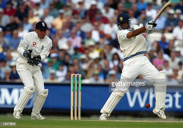 Rahul Dravid of India hits out during the third day of the NPower Fourth Test match between England and India on September 7 2002 played at the AMP...
