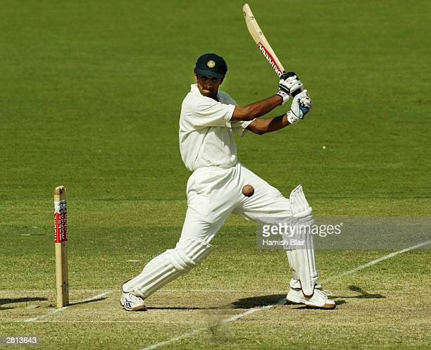 Rahul Dravid of India in action during the fifth day of the 2nd Test between Australia and India at the Adelaide Oval on December 16 2003 in Adelaide...
