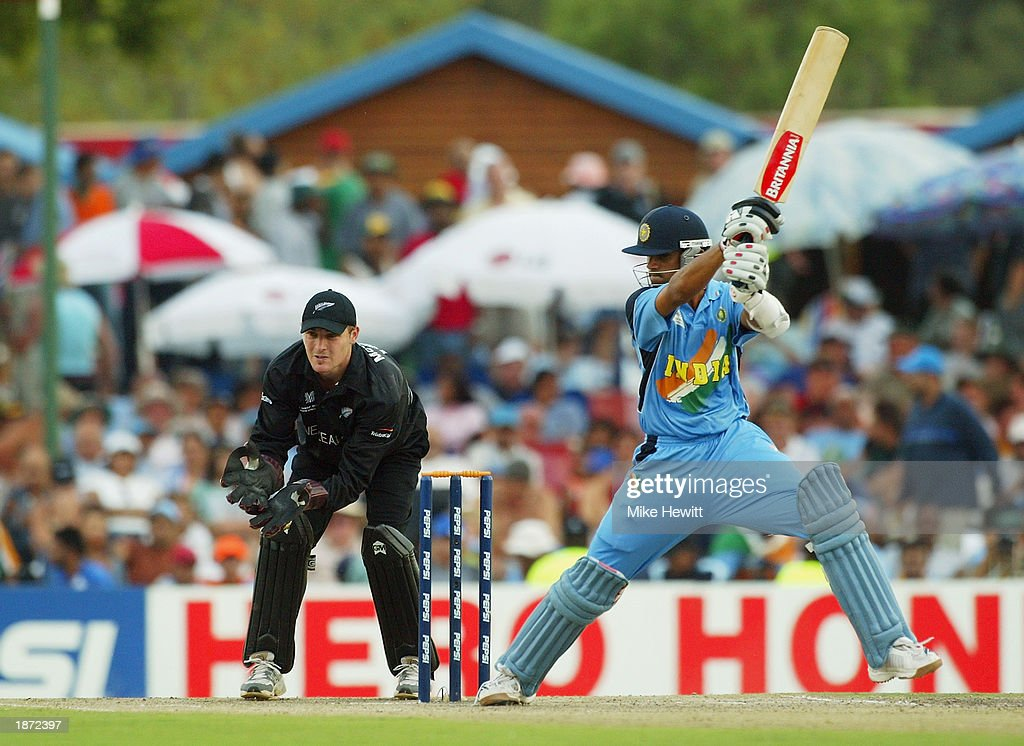 Rahul Dravid of India in action during the ICC Cricket World Cup Super Six match between New Zealand and India held on March 14, 2003 at Supersport Park in Centurion, South Africa. India won the match by 7 wickets.
