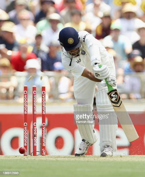 Rahul Dravid of India is bowled by Peter Siddle of Australia during day one of the third Test match between Australia and India at WACA on January 13...