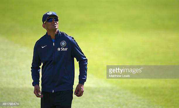 Rahul Dravid of India looks on during a India nets session at Trent Bridge on July 7 2014 in Nottingham England