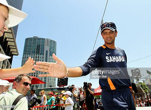 Rahul Dravid of India meets the fans during the Australian Test team fan day at Federation Square on December 23 2011 in Melbourne Australia