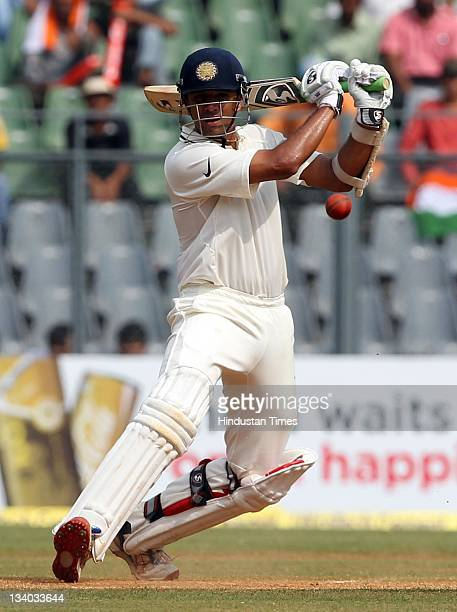 Rahul Dravid of India plays a shot during the third day of the third test match between India and West Indies at Wankhede stadium in Mumbai India on...