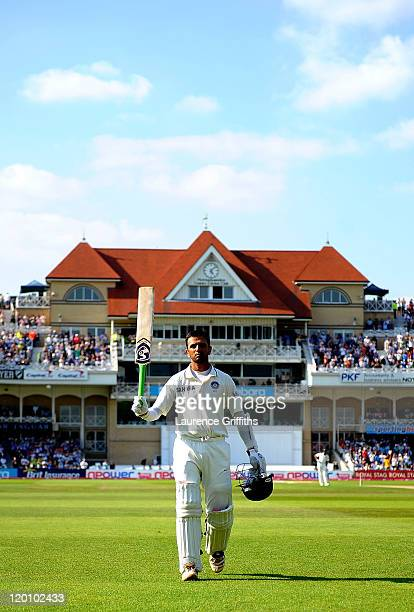 Rahul Dravid of India walks to the pavilion after scoring 117 runs during the second npower Test match between England and India at Trent Bridge on...