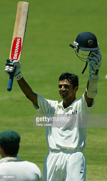 Rahul Dravid reaches his century during the 2nd Test between Australia and India at the Adelaide Oval on December 13, 2003 in Adelaide, Australia.