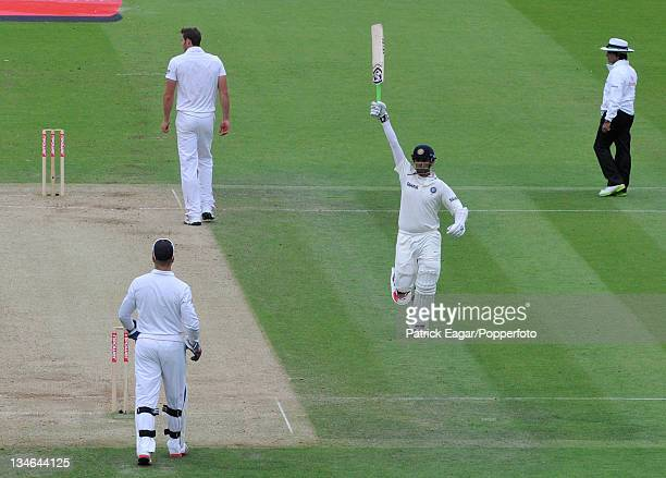 Rahul Dravid reaches his century, England v India, 1st Test, Lord's, July 2011.