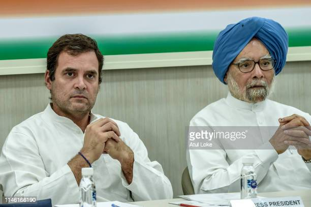 Rahul Gandhi and former prime minister Manmohan Singh at the Congress party headquarters to attend the Congress working committee meeting to review...